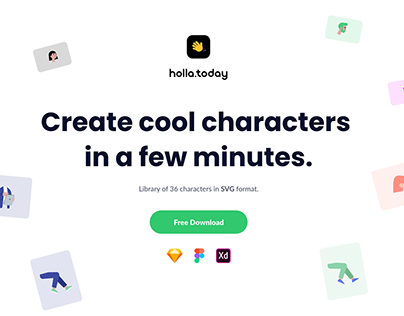 Create characters in a few minutes. SVG Library.