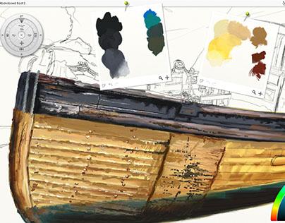 Abandoned Boat - digital painting progress in ArtRage