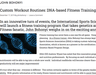 DNA-based Fitness Training (blog post)