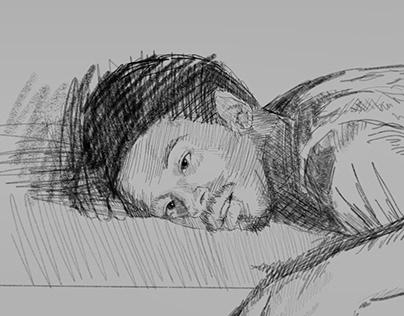 Drawing of a Defeated Man