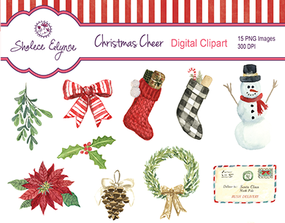Christmas Cheer Watercolor Clipart by Shalece Elynne