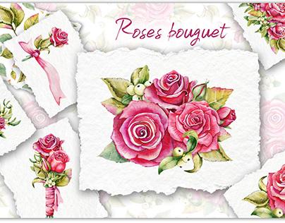 Букет с розами. Акварель. Свадебные цветы