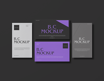 Free Top View Brand Business Card Mockup Design