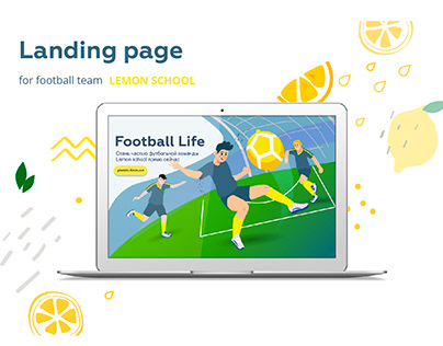 Landing page for football team