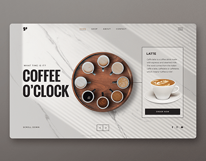 Coffee o'clock Landing page UI