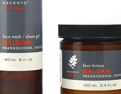 """Packaging for Escents """"For Him"""" line of bath products."""