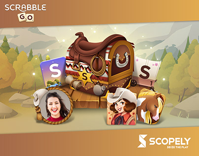 Western live ops art for Scrabble® GO game