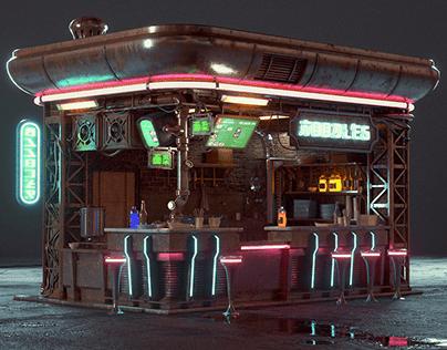 Cyberpunk noodles shop