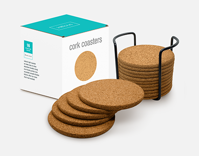 Kittous - Natural Cork Coasters Set for Drinks