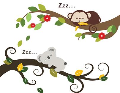 Sleeping Baby Animal on Tree Branch