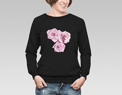 Pink roses illustration tshirt print