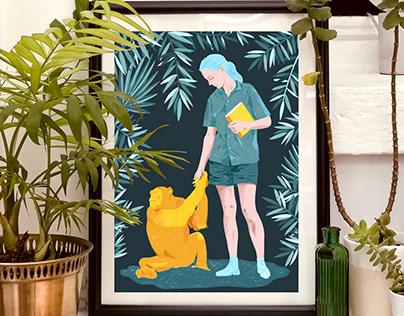 Jane and Fifi - Jane Goodall tribute illustration