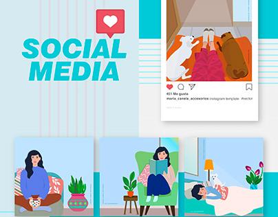Social Media | Ilustraciones para la marca María Canela