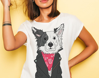 Coloured dog vector illustrations for Tshirtdesigns