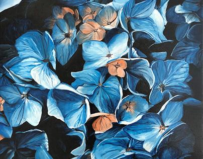 Peinture acrylique les hortensias bleus