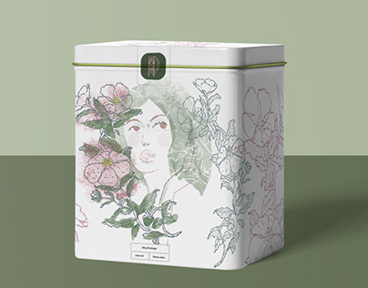 Illustration for packaging Tea tin