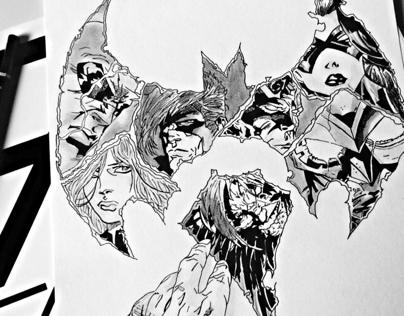 Hand drawing of Batman