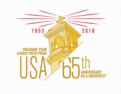2018 University of San Agustin - 65th Anniversary Logo