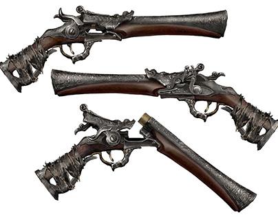 Bloodborne pistol with sand