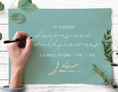 Leaves & wildflowers. Watercolor botanical illustration