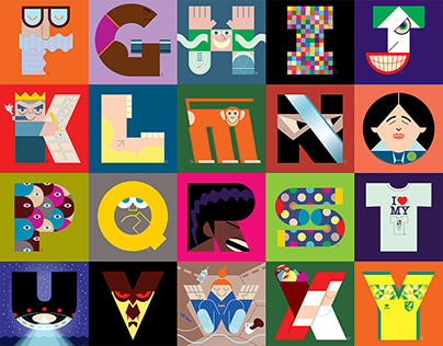 Corita Kent-inspired Illuminated alphabet