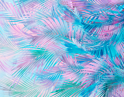 Palm leaves. Work in Adobe Photoshop. Height 3 m