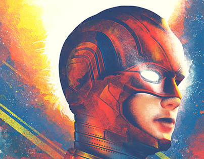 Captain Marvel illustrated film poster