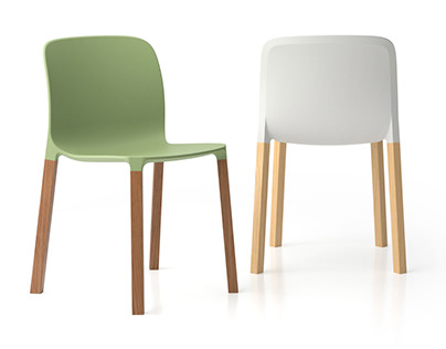 MASH - polypropylene and wooden chair