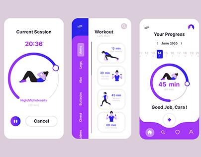 UI UX gym workout mobile app design