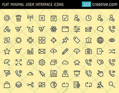 Flat Minimal User Interface icons (EPS, PNG, SVG)