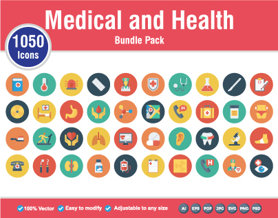 Medical and Health Flat Icons, 1050 Icons