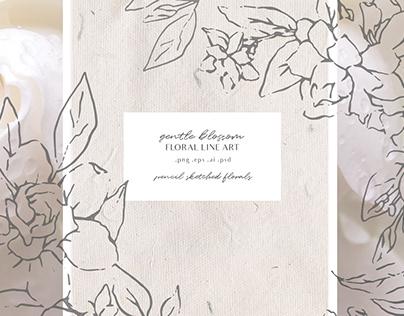 Gardenia Flowers Modern Floral Line Art