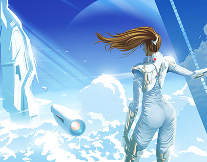 SciFi Vector Illustration, Title : Above the Clouds