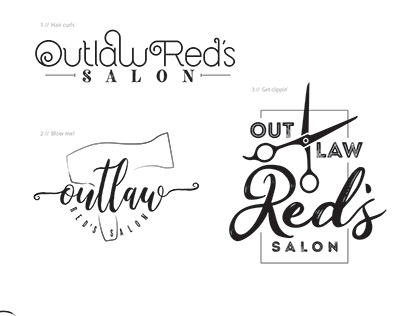 Outlaw Red's Salon Logo Concepts