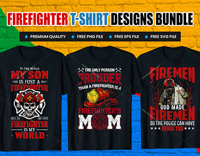 FireFighter T-Shirt Design Bundle