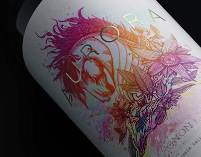 Aurora Wine Bottle Label Design Illustration Black Matt