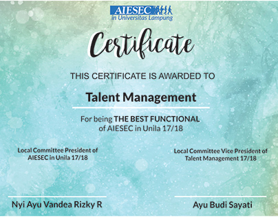 Design for AIESEC Certificate