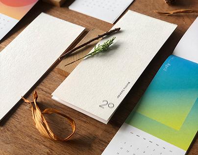 漸層概念數字月曆 Gradient color monthly calendar | 2020