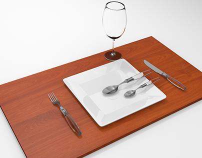 Talheres, prato e copo