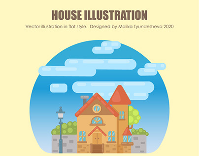 House illustration in flate style