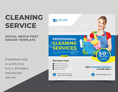 Cleaning Service Social Media Post Design Template