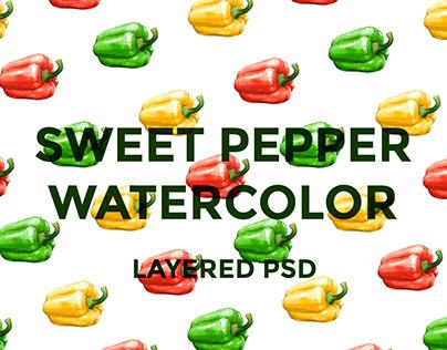Sweet pepper watercolor