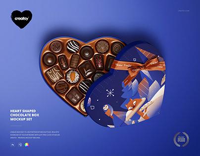 Heart Shaped Chocolate Box Mockup Set