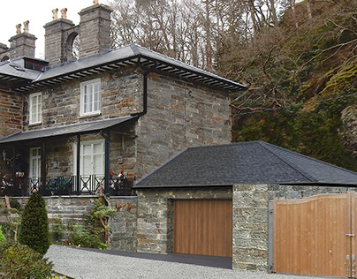Slate stone house Photomontage