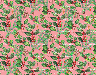 Christmas Berries Pattern Surface design