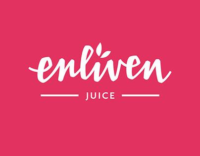 Enliven juice hand lettered logo