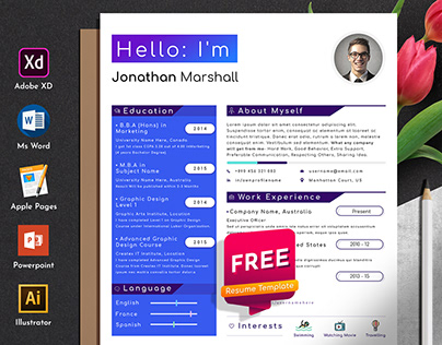 Free Designer Developer Resume Cv Template