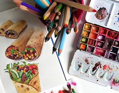 Watercolor mexican burrito