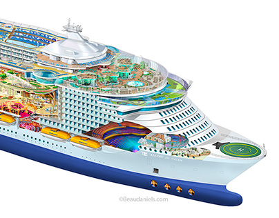 Allure of the Seas, breakdown illustration.