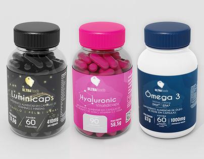 Produto 3D Luminicaps, Hyaluronic e Ómega 3